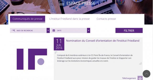 Institut Friedland Espace presse screenshot image