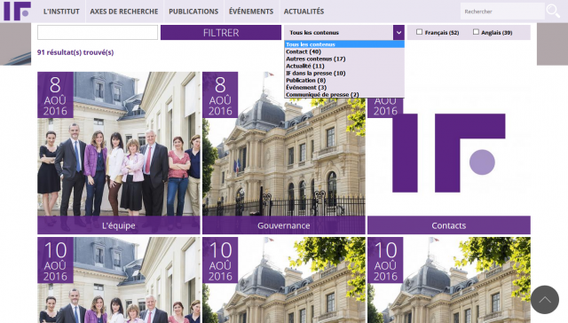 Institut Friedland search page screenshot image