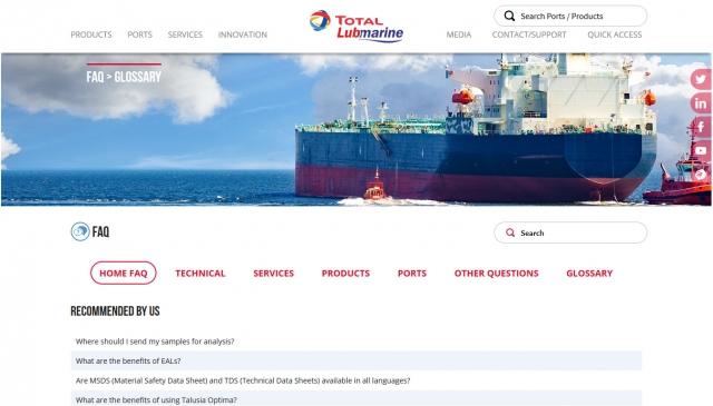 Total Lubmarine FAQ accueil