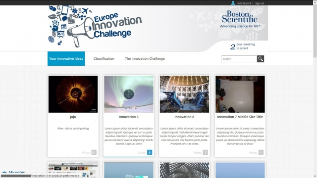 BSC Innovation Challenge page d'accueil haut (version lorem ipsum)