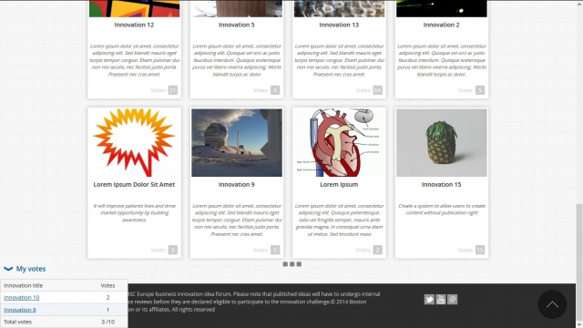 BSC Innovation Challenge page d'accueil bas (version lorem ipsum)