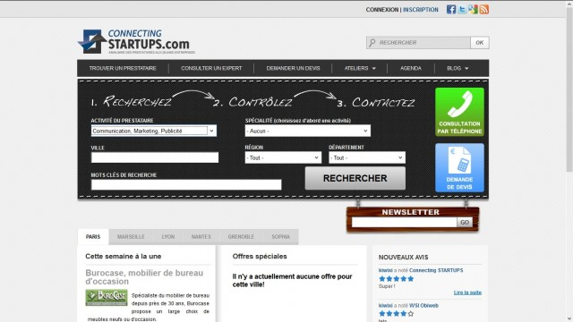 ConnectingStartups.com Frontpage