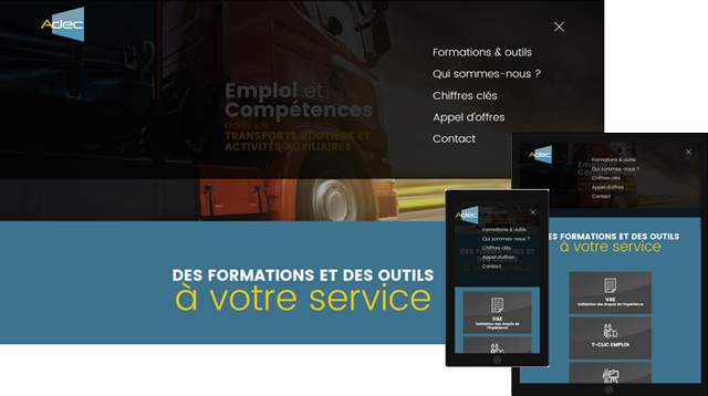 Page d'accueil menu déployé