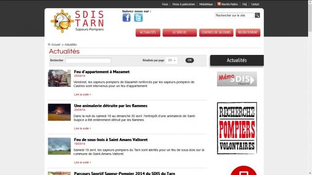 SDIS 81 page actualités