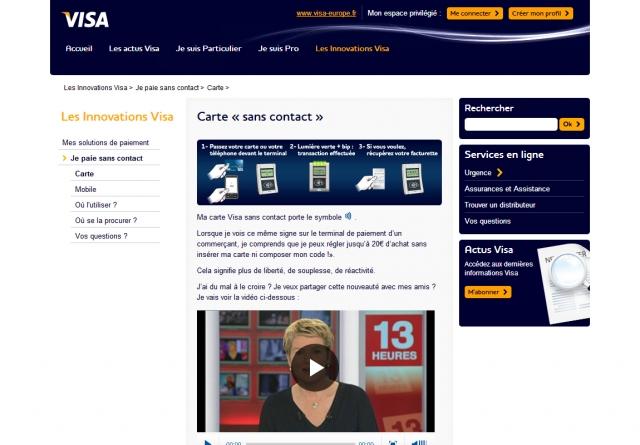 VISA website frontpage