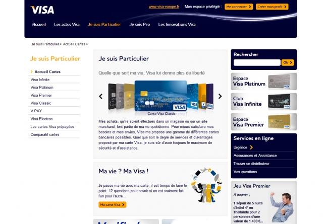 VISA page produits cartes